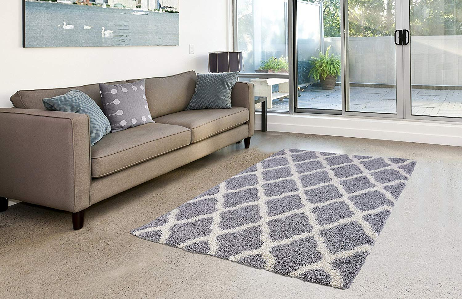 Amazon Com Pierre Cardin Luxury Shag Flokati Collection Trellis Rug Design Abstract Area Rugs For Living Room Indoor Outdoor Rugs Outdoor Rugs Brown Area Rugs