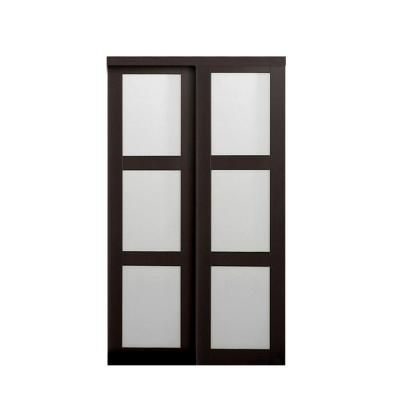 Amazing TRUporte Grand 2290 Series 60 in x 80 in posite Espresso 3 Lite Tempered Frosted Glass Sliding Door 2290 at The Home Depot Mobile Review - Latest frosted interior door Simple Elegant