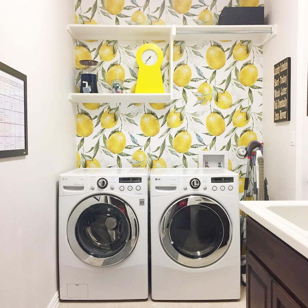 Lemon Wallpaper Laundry Room Wallpaper Pink Laundry Rooms
