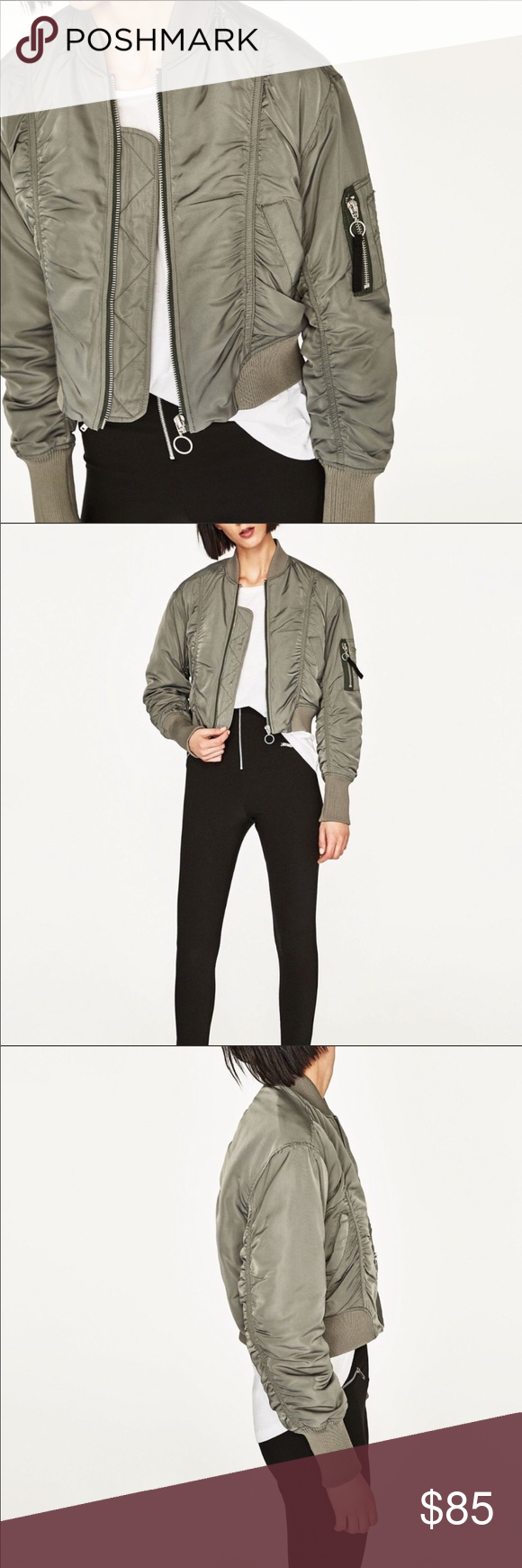 fead04ac8 NWT Zara cropped green bomber jacket Beautiful and prefect new with ...