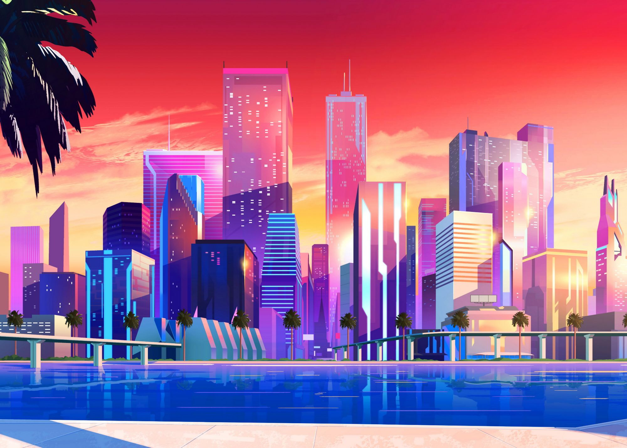 Vice City Metal Poster Print Synthwave 1950 Displate In 2020 City Wallpaper Watercolor Wallpaper Iphone Wallpaper Iphone Summer