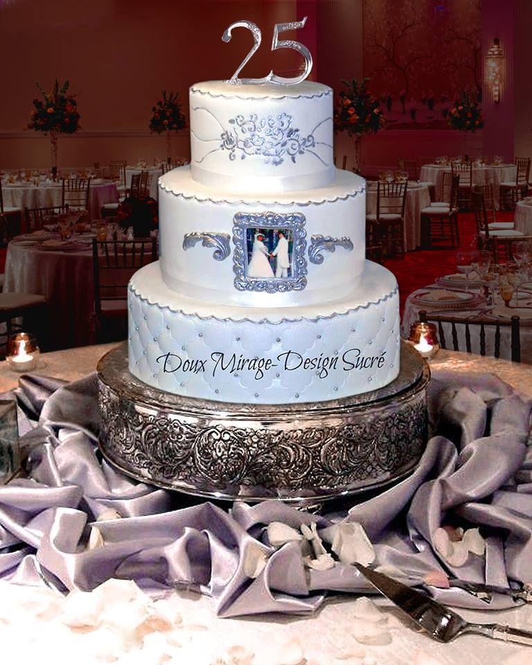 Gâteau 25e Anniversaire De Mariage Doux Mirage Design