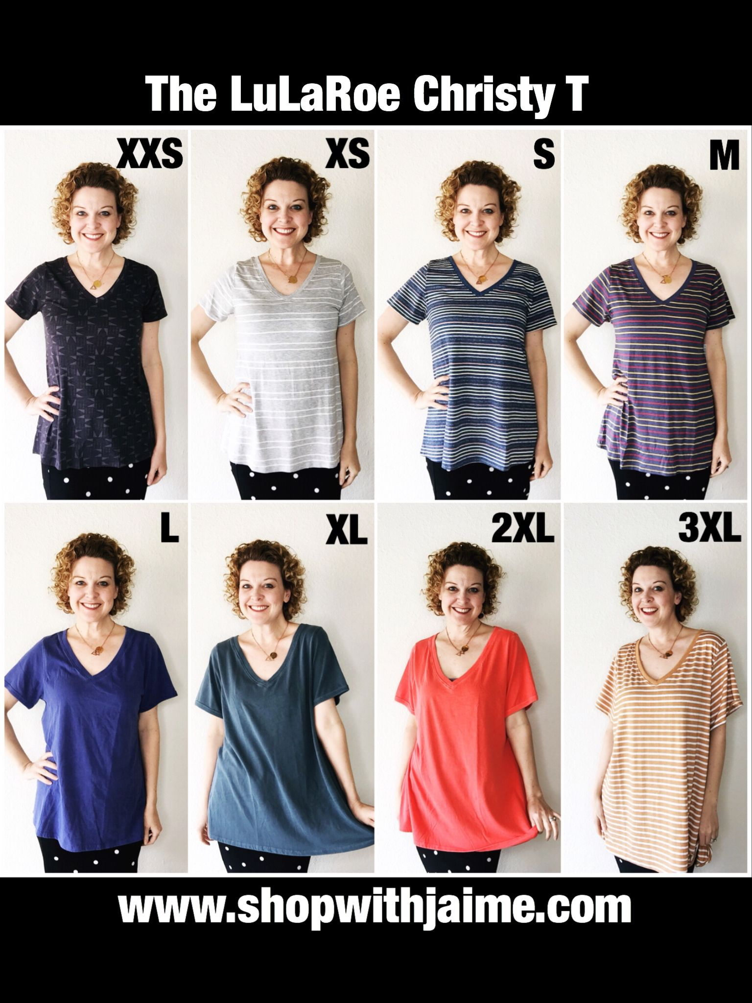 adf303667 LuLaRoe Christy T size comparison chart    Christy Tee sizes    Christy V-Neck  T fit    I'm a size 4 and here's how they compare. www.shopwithjaime.com ...