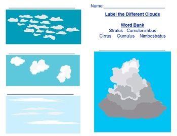 Cloud Match Worksheet Clouds Worksheets Cloud Type