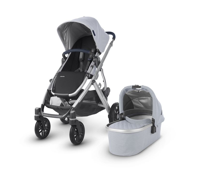 UPPAbaby Vista 2019 Stroller William Chambray Oxford with Silver Frame and Navy Leather