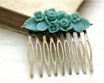 Turquoise Hair Comb -Vintage Style Turquoise Flower Basket Hair Comb Vintage Style