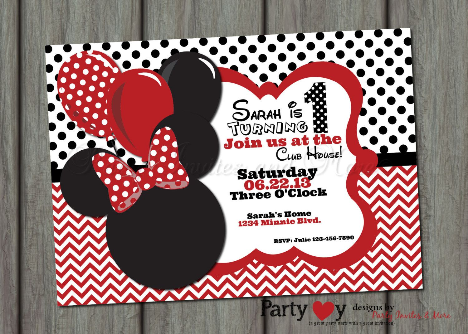 Red Minnie Mouse Birthday Invitation Printable | baby girl birthday ...