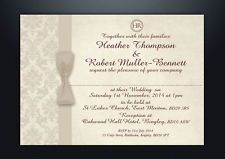 PERSONALISED DAMASK WEDDING DAY EVENING INVITATIONS WITH ENVELOPES