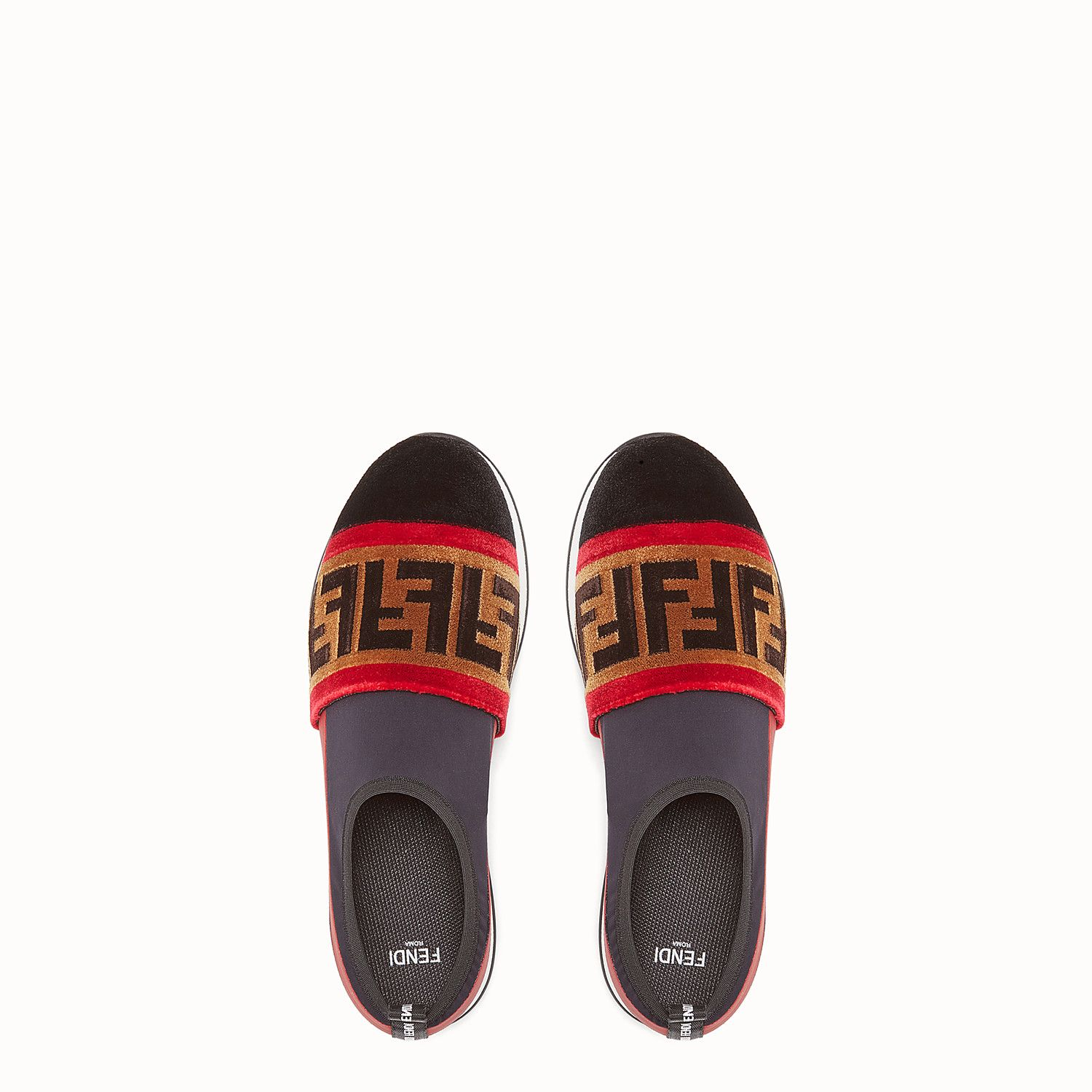 ae4f1357864a FENDI SNEAKERS - Black tech fabric slip-ons