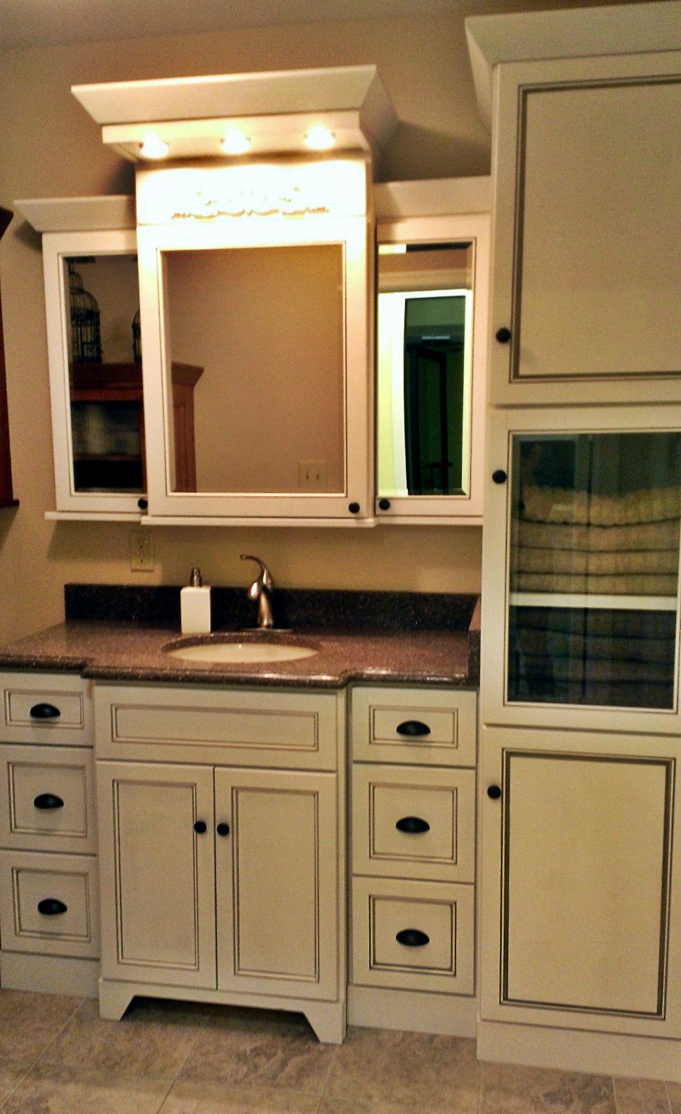 Bathroom Cabinet Design with Wall Mounted White Cabinetry | Kenwood ...