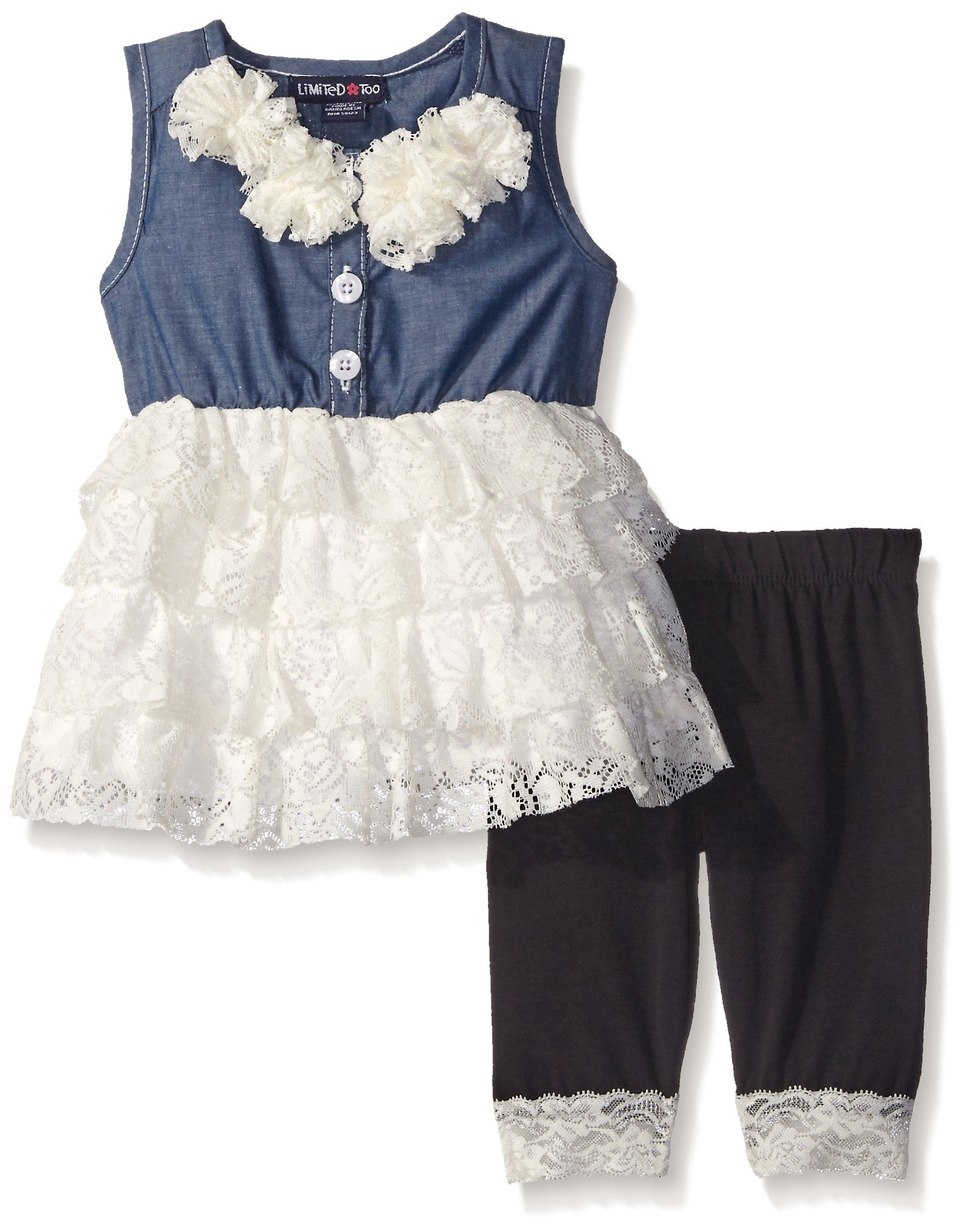 Limited Too Girls Fashion Top and Legging Set 1182 Vanilla 18