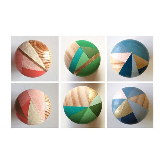 These hand painted colourful door/ cupboard knobs/handles are hand ...