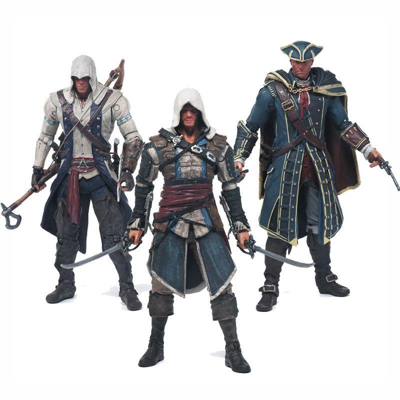 Livraison gratuite Assassins Creed 4 Black Flag Connor Kenway Haytham Kenway Edward PVC Action Figure jouets lame cachée