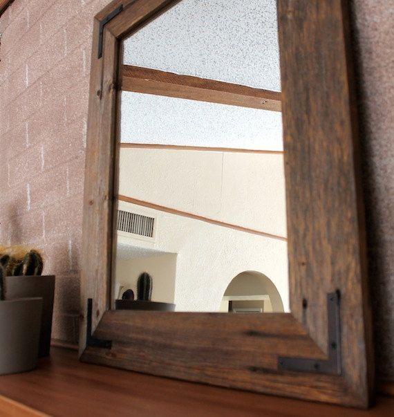 rustic industrial eco decor reclaimed wood mirror finished framed farmhouse mirror via etsy - Wood Framed Bathroom Mirrors