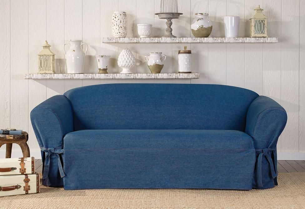 Denim One Piece Sofa Slipcover