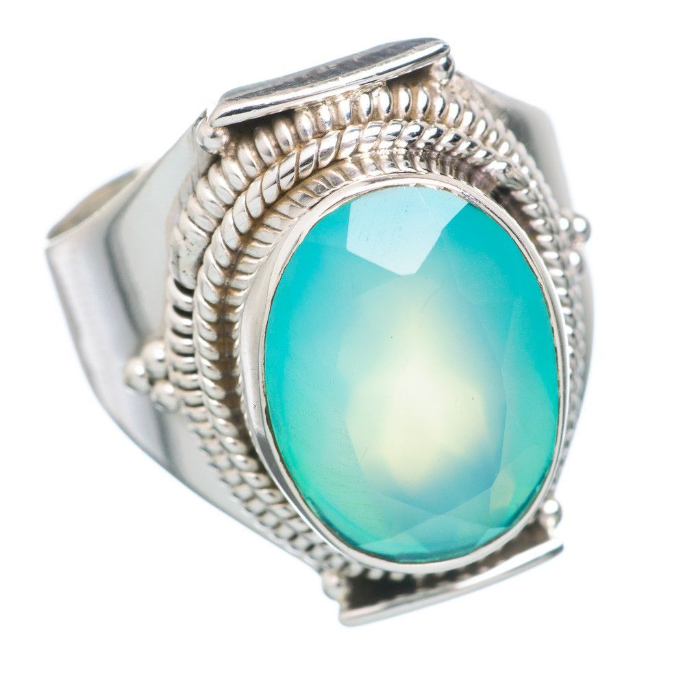 Aqua Chalcedony 925 Sterling Silver Ring Size 7.75 RING711567