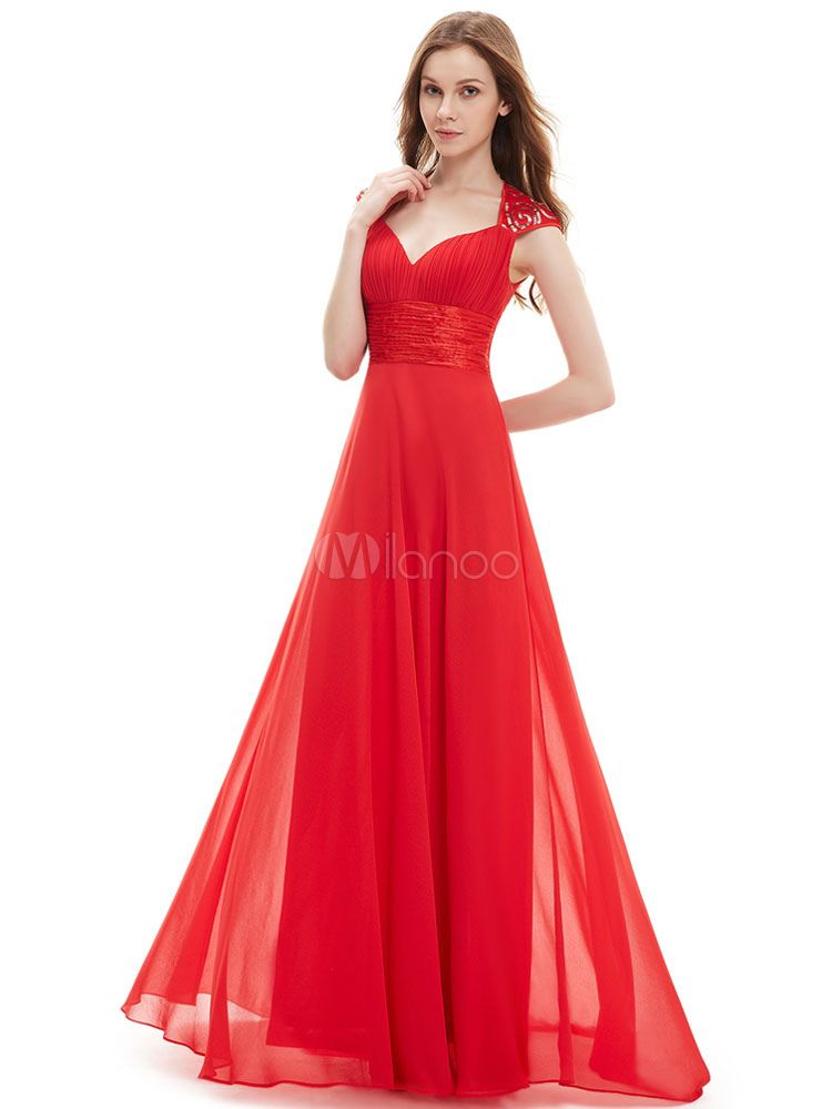 1e41d0dfee37d6 Red Bridesmaid Dress Chiffon Long Prom Dresses 2018 Queen Anne Neckline  Sequin Ruched Sleeveless Occasion Dress With Train #Prom, #Long, #Dresses