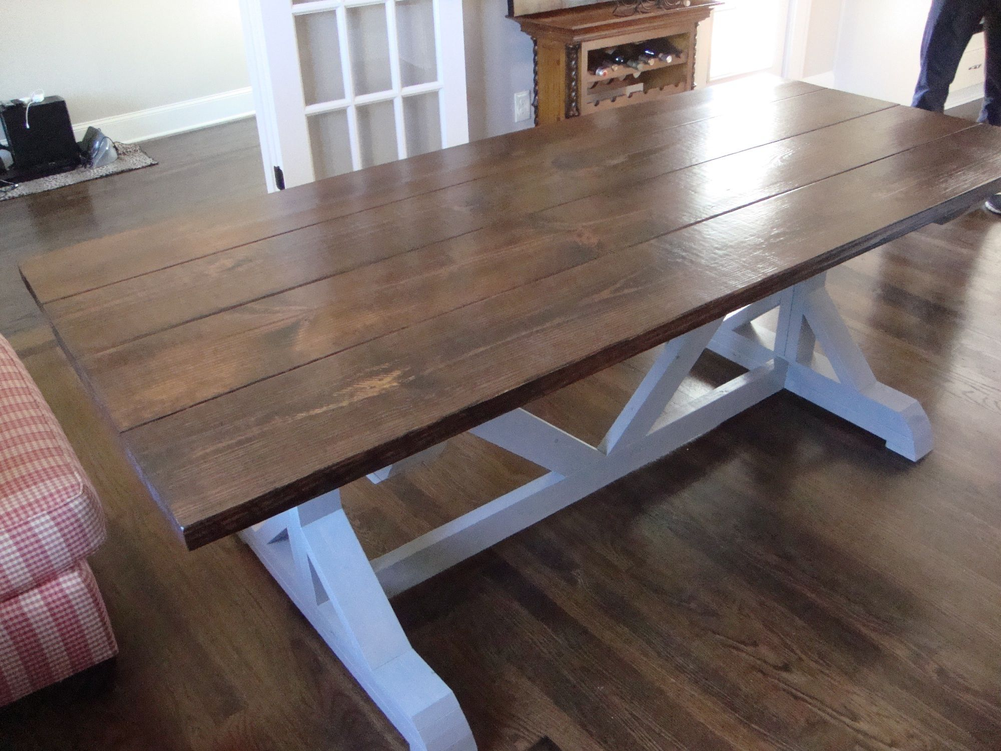 7 Ft Trestle Style Farm Table With Dark Walnut Stained Top And
