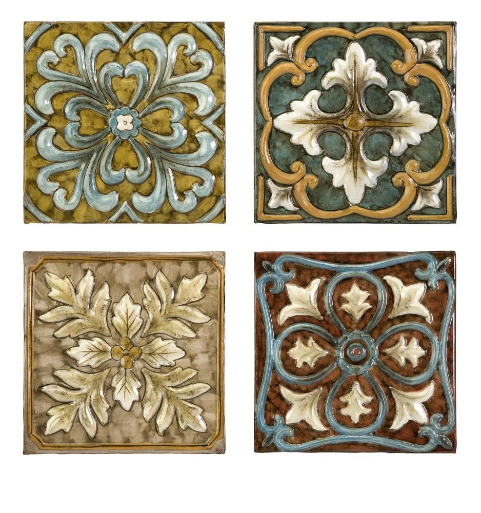 Square Metal Wall Decor Decorative Metal Accent Tile Sets Imax Worldwide Casa Medallion