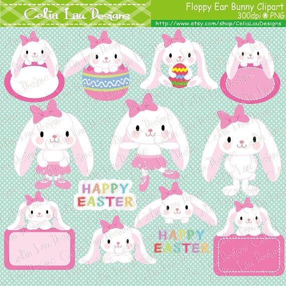 Easter clipart Easter Bunny clipart Floppy Ear Bunny