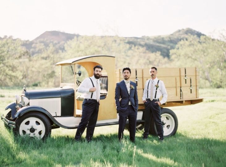 Boys and their toys! Included in your Wedding Weekend are two vintage cars for photography and fun. Classic! ・・・ Hair, makeup, and coordination: @thequeensbees Photography by: @kelseaholderphoto  Venue: @higueraranch  Menswear: @heygorgeousformalwear Worlds best assistant: @lonely_muse