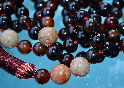 Natural Agate & Unakite Hand Knotted Mala Beads Ne