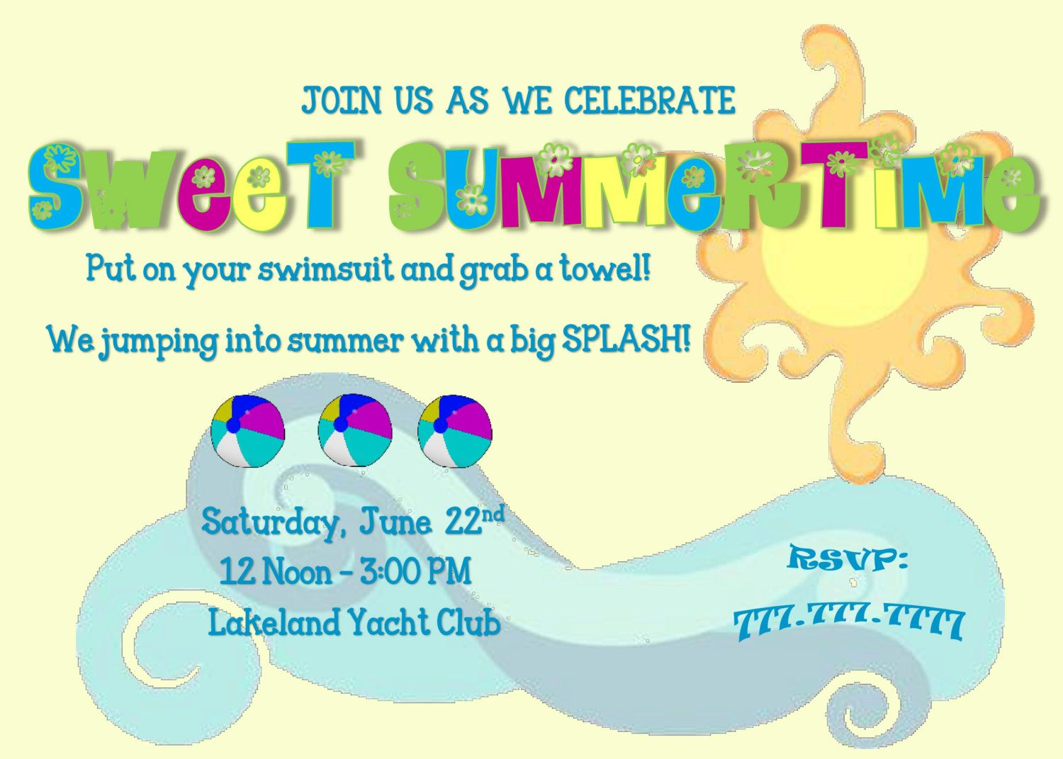 Sweet Summertime Swimming Party Beach Party Pool Party Invitation ...