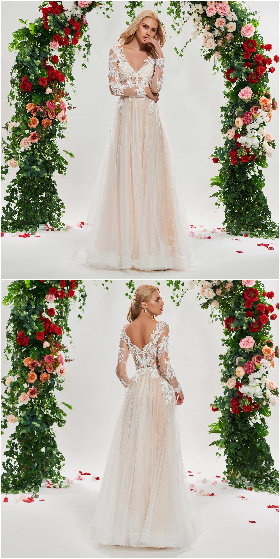 VNeck Appliques Long Sleeve Wedding Dress tbdressreviews