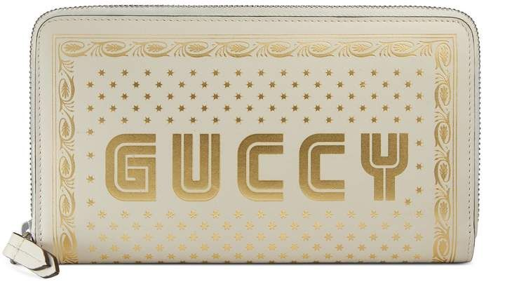 Guccy zip around wallet #set#gold#smooth