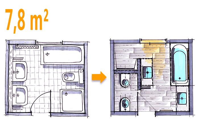 Badplanung Beispiel 7 8 Qm Modernes Komplettbad Mit Funktionszonen
