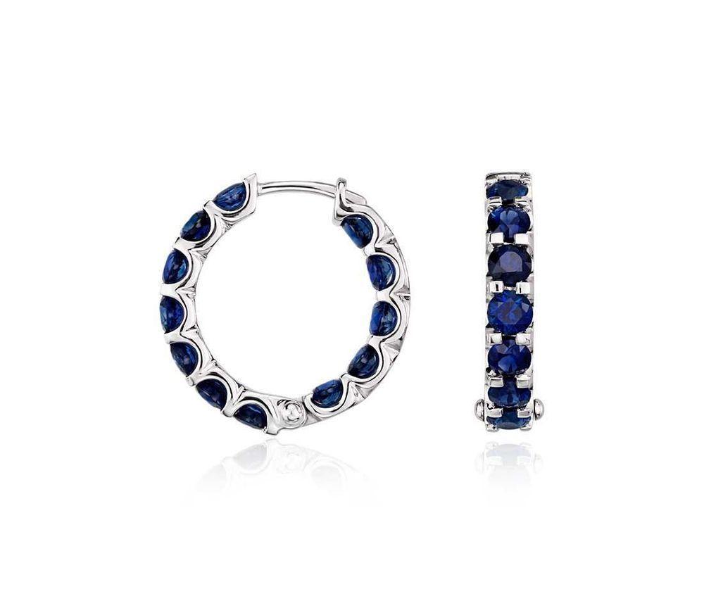 12923226f46 2.40ctw Certified Round Blue Sapphire Hoop Earrings in 14k White Gold (3mm)   TrueDiamondJewelry  Hoop