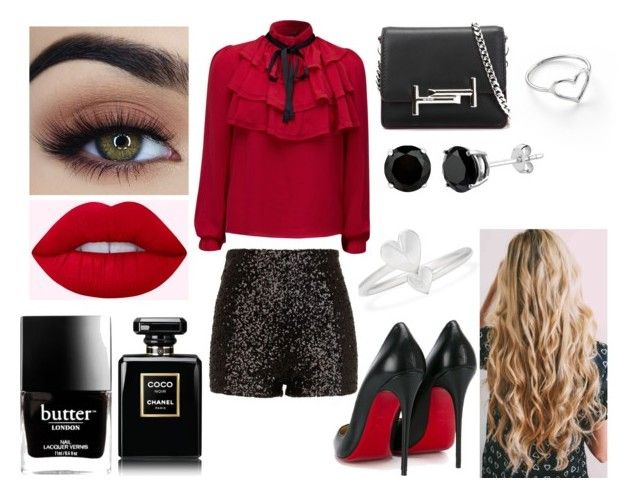 """""""Unbenannt #572"""" by mirihexe on Polyvore featuring Mode, Alex and Ani, Jordan Askill, River Island, WithChic, Christian Louboutin, Tod's, Butter London und Chanel"""