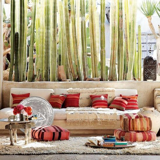 touches of morocco...  This is much like what I'm planning for one of our Outdoor Living Areas for 2014...Very Inviting!