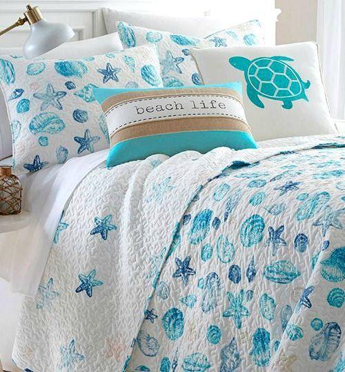 Coastal Sea Life Cotton Quilts for Beach Dreamers #coastalbedrooms