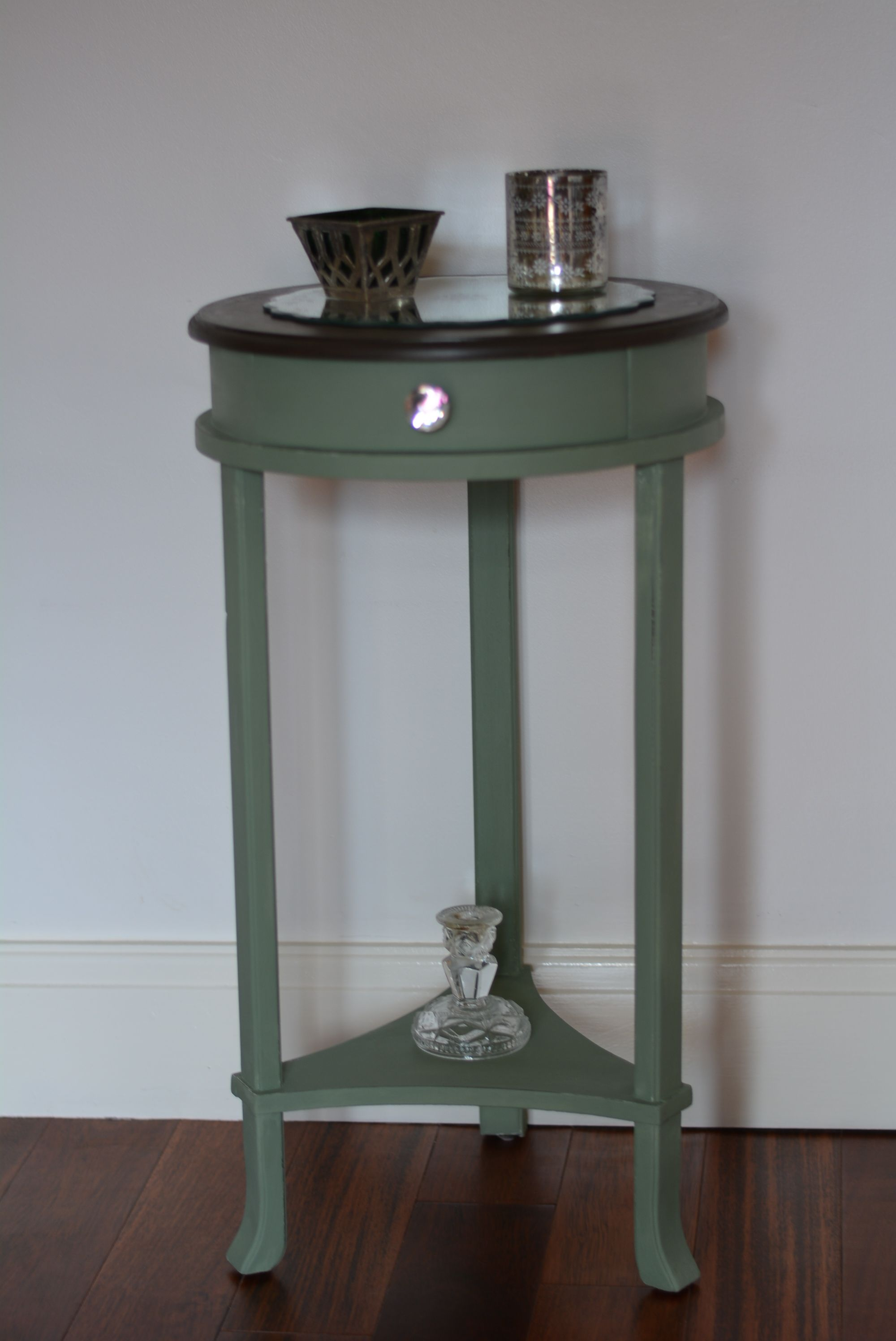End of hallway decor  Hall table hand painted using Autentico Vert Olive  Inherited Grace