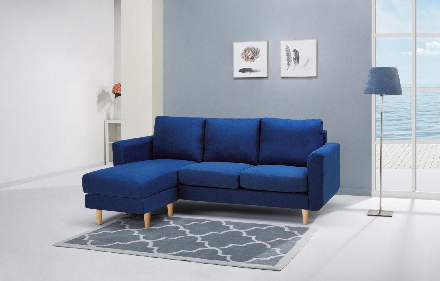 Canapé d\'angle réversible ARTURO Tissu Bleu