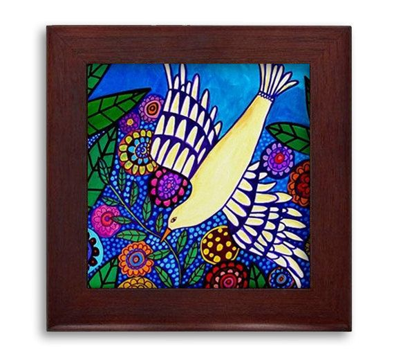 Bird Garden Folk Art Ceramic Framed Tile by Heather Galler - Bird Feathers Ready To Hang Tile Frame Gift