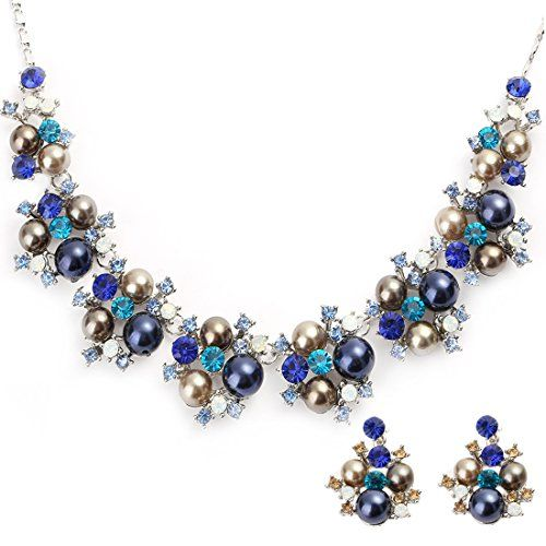EVBEA Wedding Jewelry Crystal Pearl Jewelry Sets Gold Color Pearl Cluster Layered Necklace and Earrings for Women