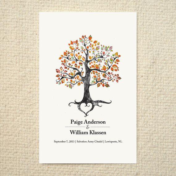 Fall / Autumn Wedding Ceremony Program / Order of Service - Rustic Woodland Tree - DIY Printable PDF Template - folded card - Orange on Etsy, $15.00