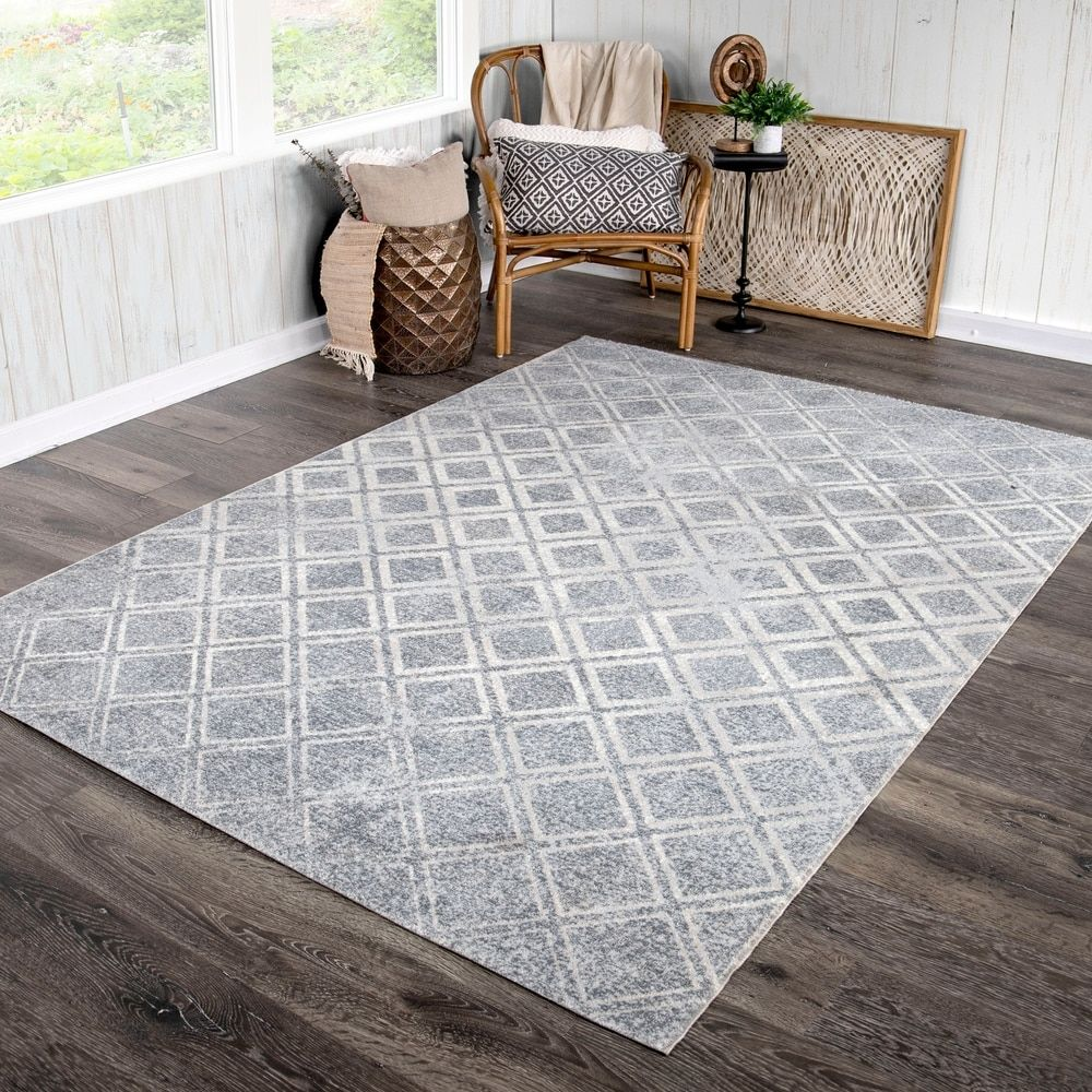 Orian Bali Indoor Outdoor Checkers Anyone Silver Blue Area Rug 7 10 X 10 10 7 10 X 10 10 Grey Gray Orian Rugs In 2020 White Area Rug Online Home Decor Stores Blue