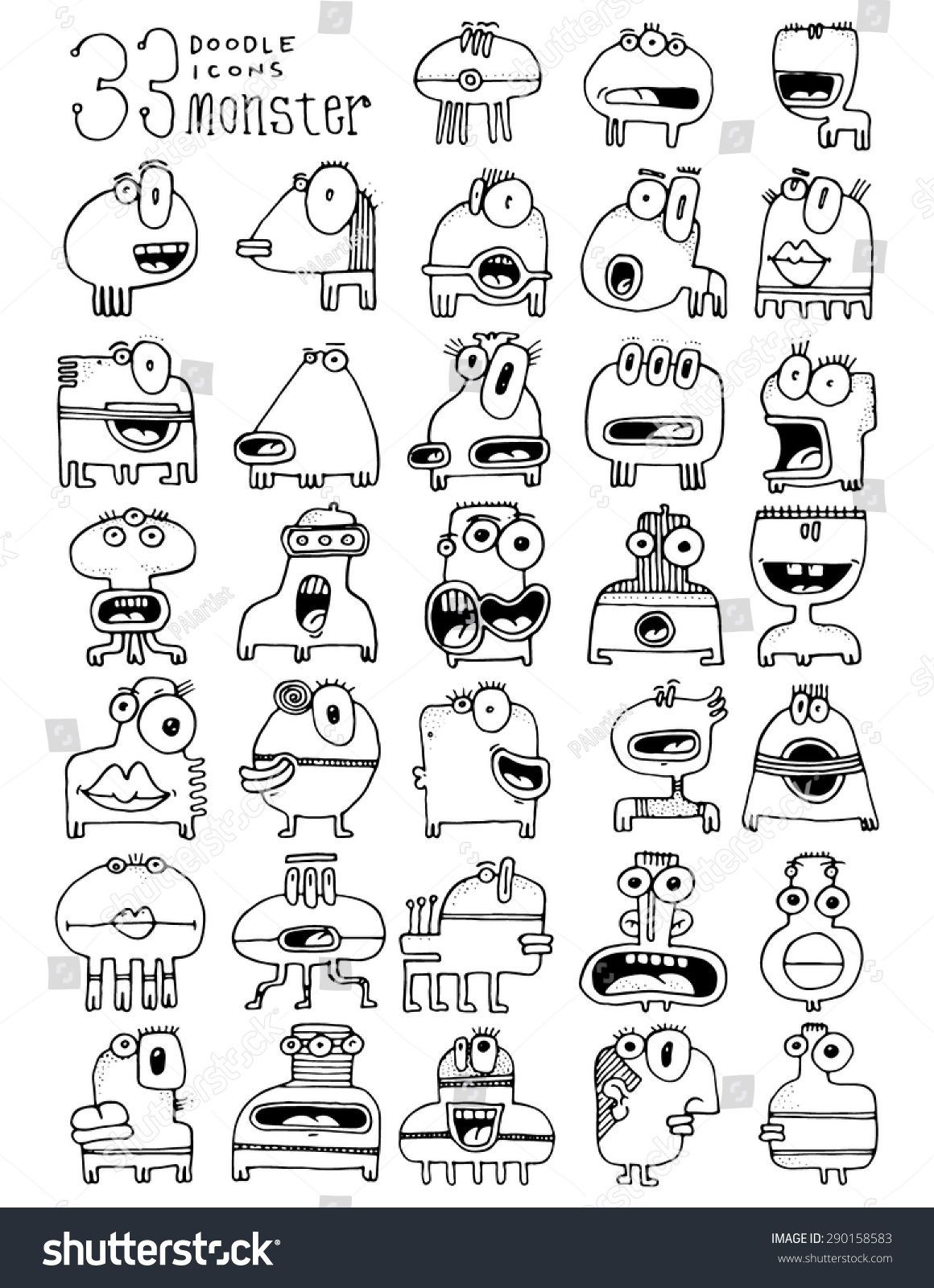 Thirty Three Doodle Icons Monster Funny Simple Drawing Silly Faces