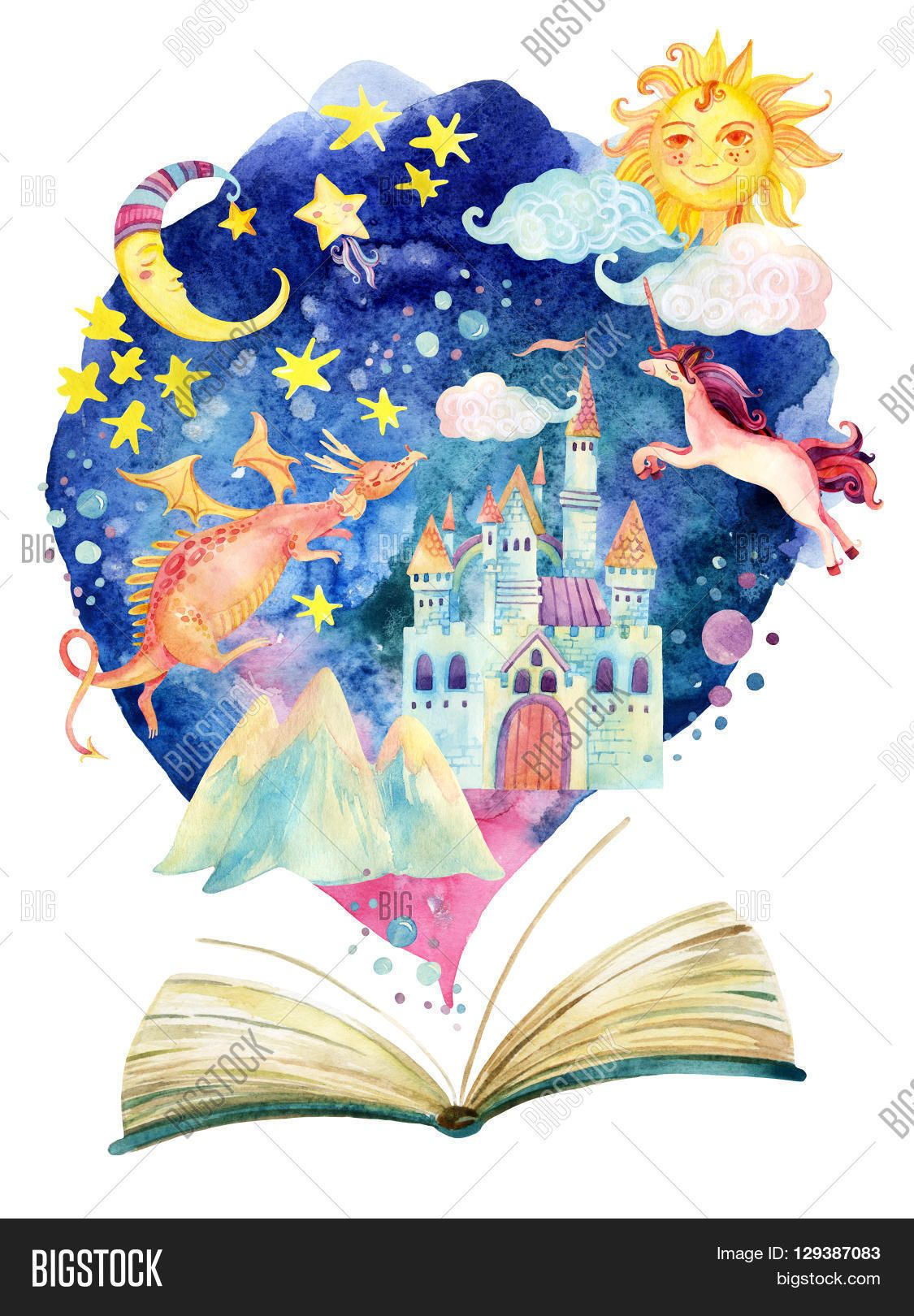 Watercolor books for kids - Watercolor Open Book With Magic World The Fairy Tale World In One Book Starry Sky Magic Castle Flying Dragon And Unicorn Hand Painted Book Illustration