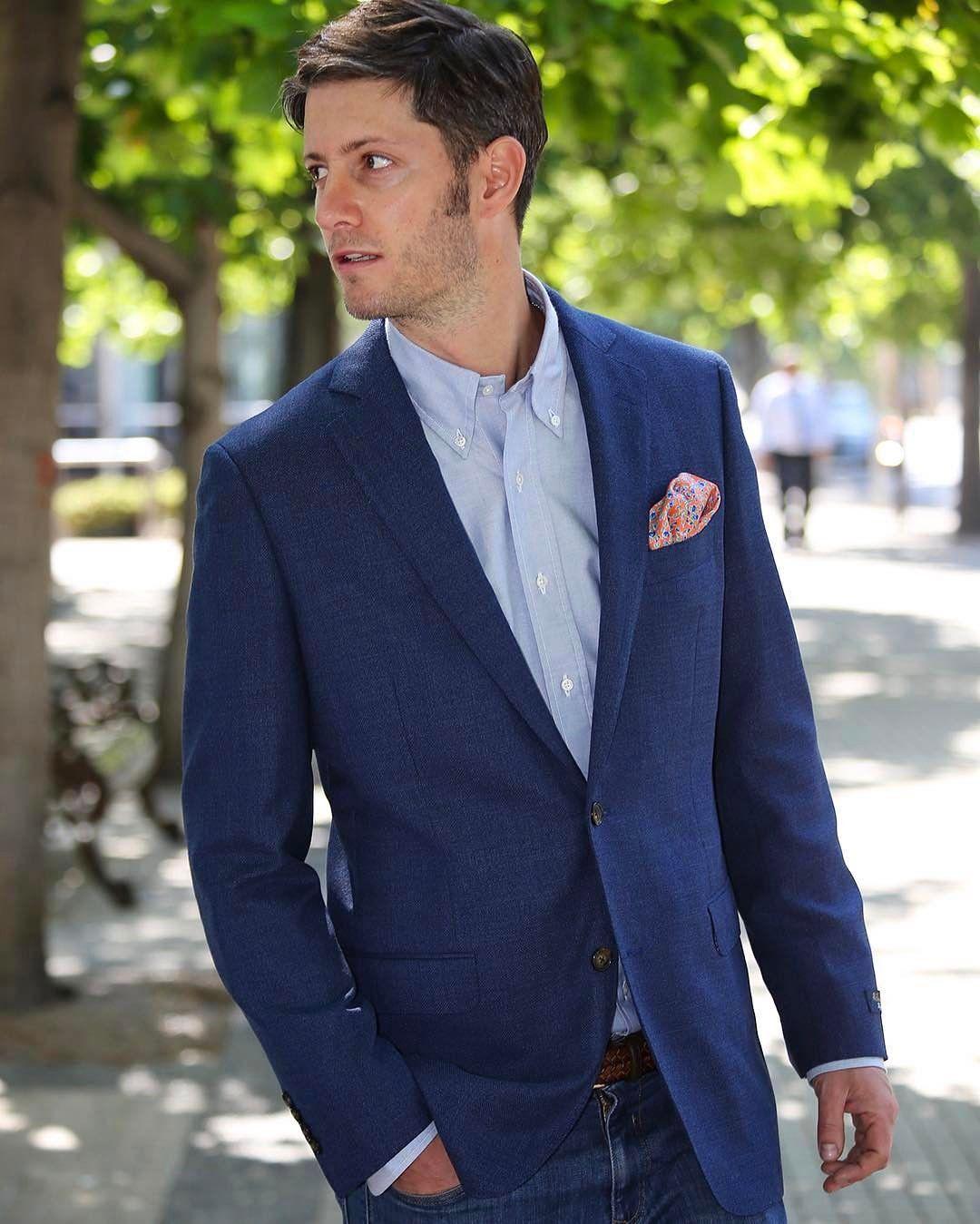 Bright Blue Blazer Blue Jeans And A Blue Shirt Summer Blues Indeed Summer Blue Blue Blazer White Jacket