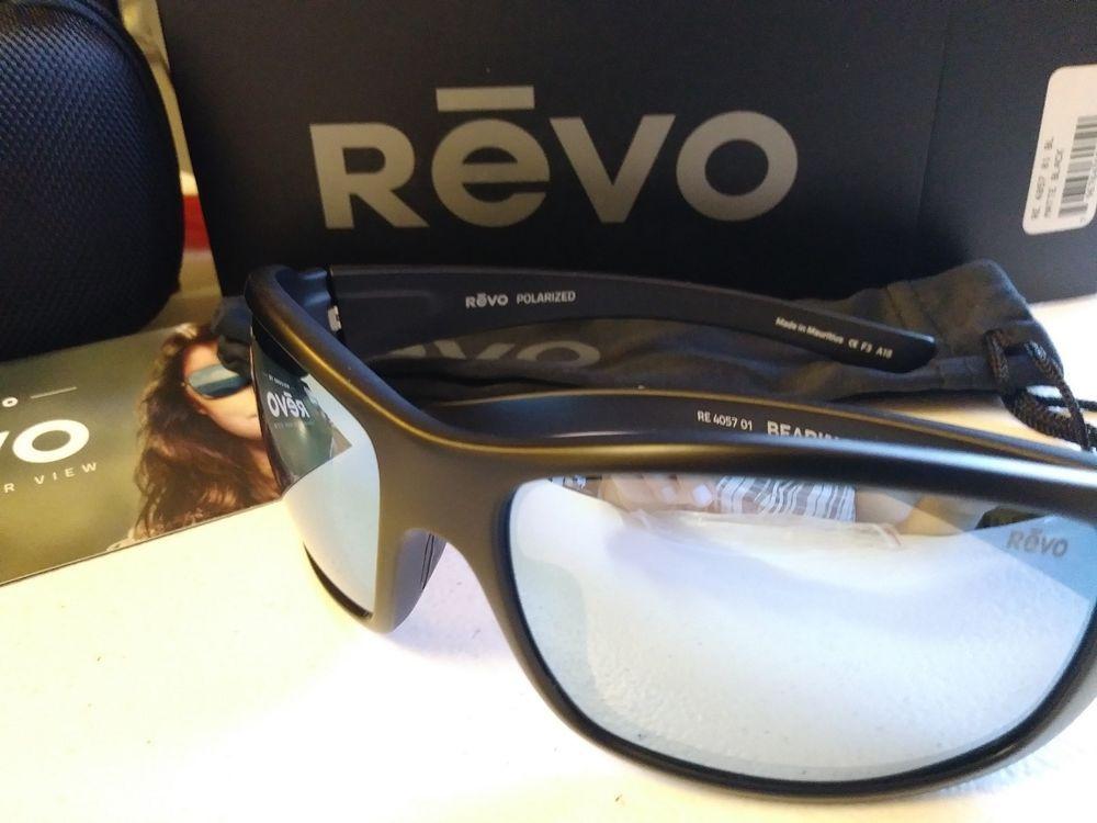 4f4b037f6d REVO BEARING Matte Black/ Blue Mirror Lens RE4057 01 BL POLARIZED  Sunglasses NEW (eBay Link)