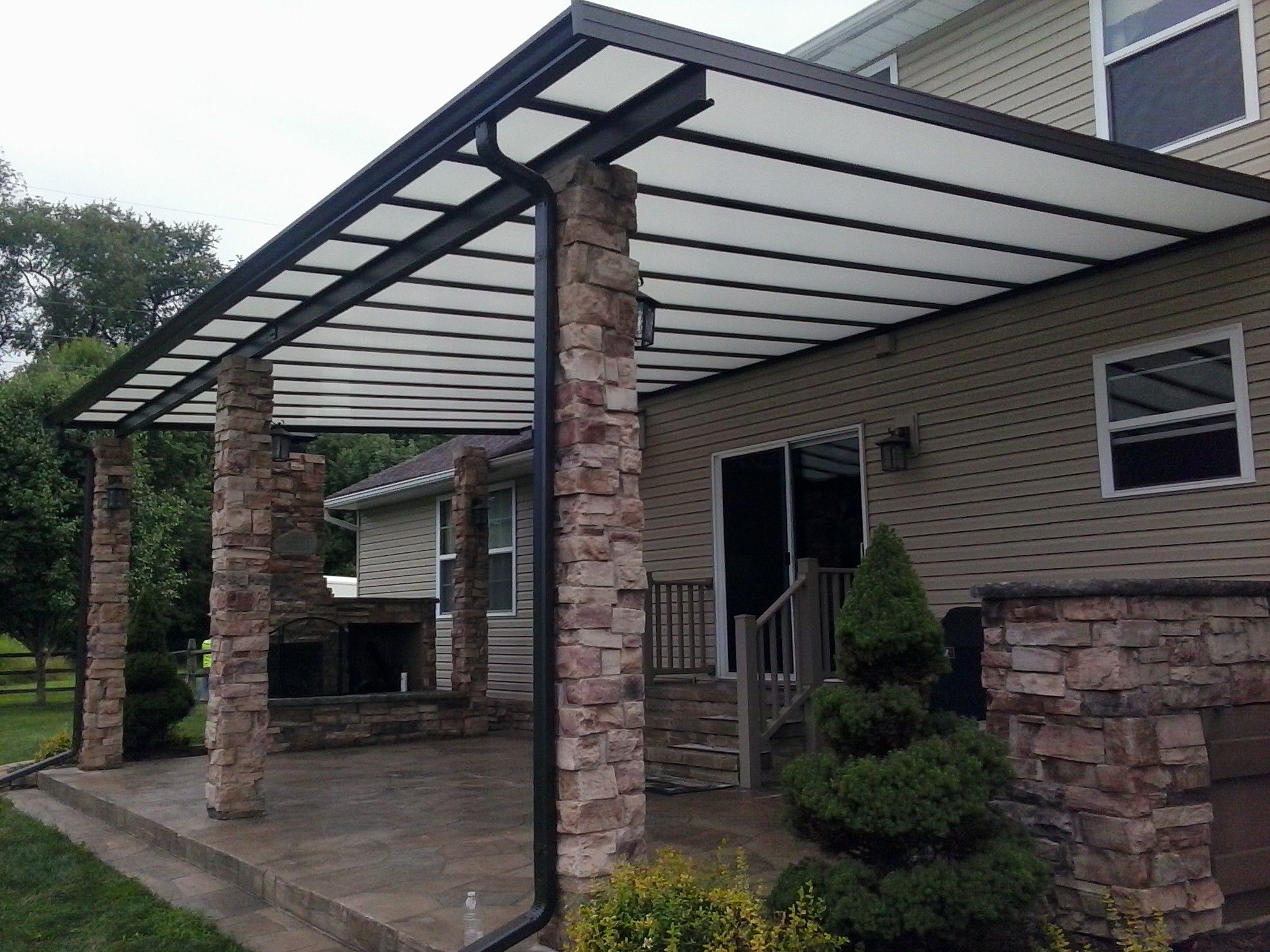 Patio Cover With Stonework Covered Patio Commercial Canopy Covered Pergola