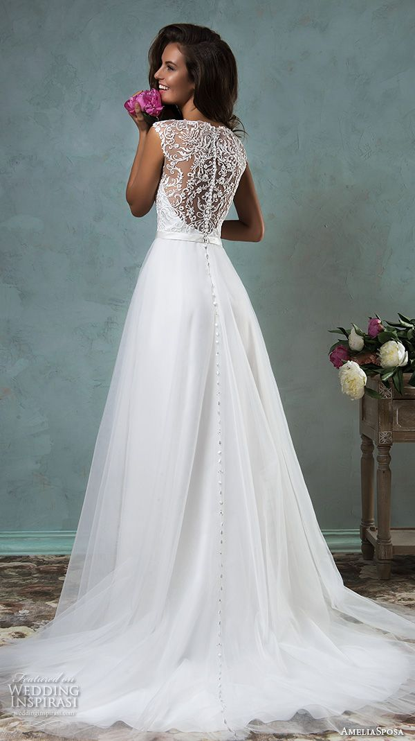 Amelia Sposa 2016 Wedding Dresses Sleeveless Thick Lace Strap Embroidered Bodice Tulle Skirt Pretty A Line Gown Etna Back View