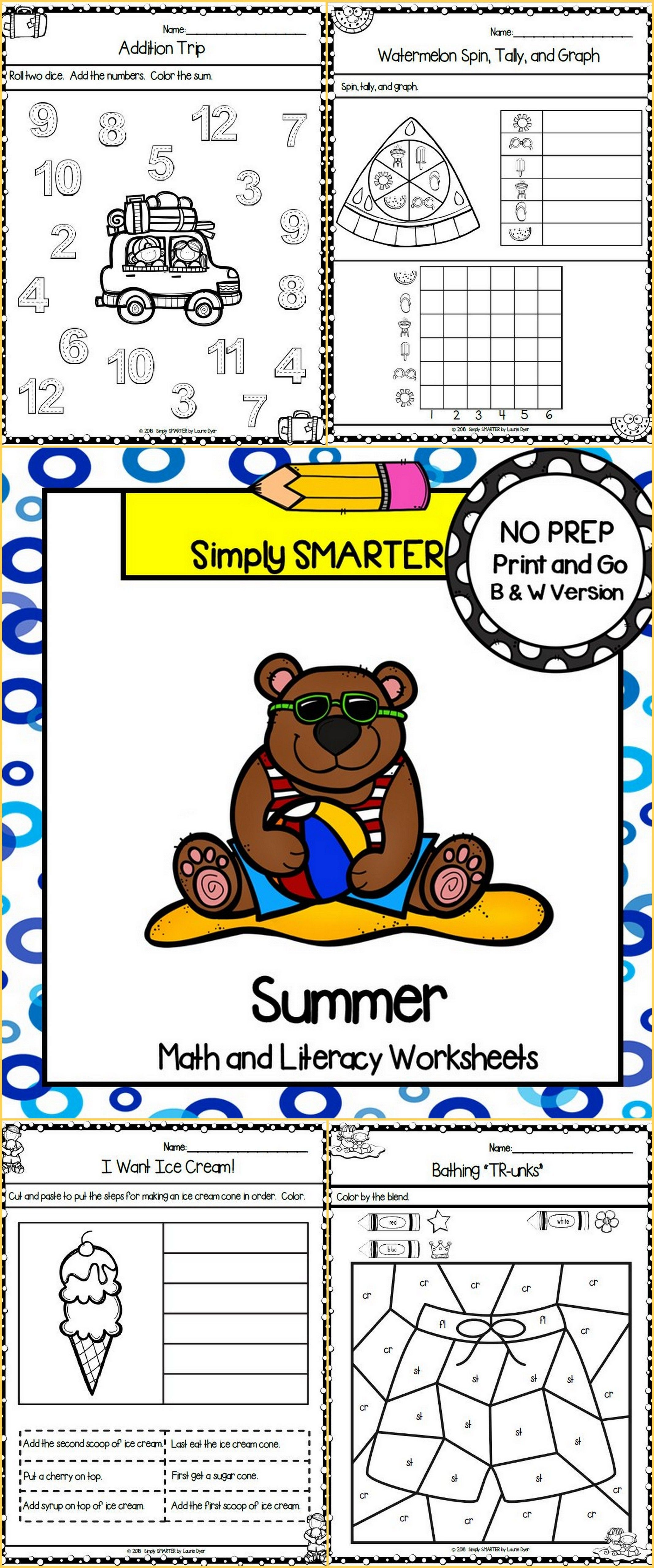Summer Themed Kindergarten Math And Literacy Worksheets