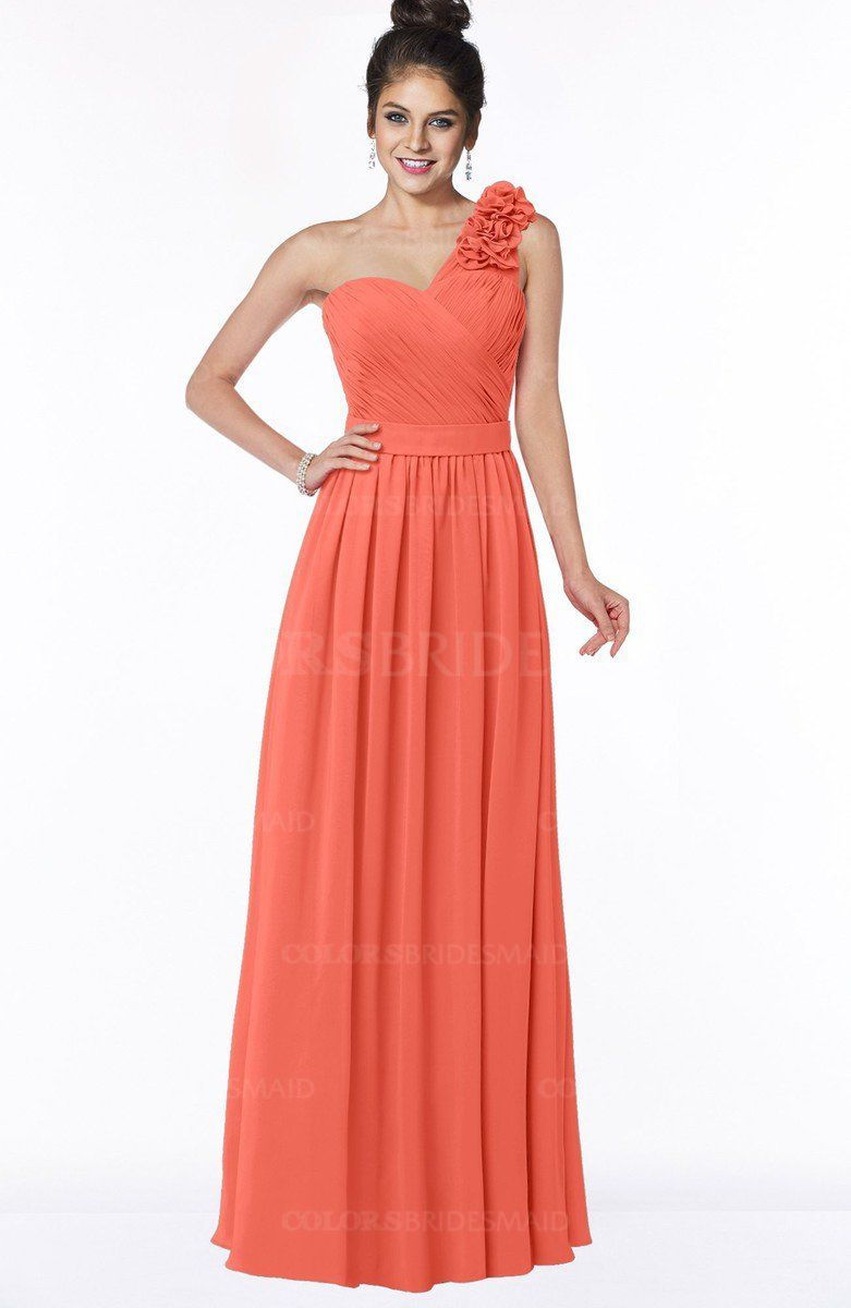 587d85cc6dce Living Coral Simple A-line One Shoulder Half Backless Chiffon Flower Bridesmaid  Dresses