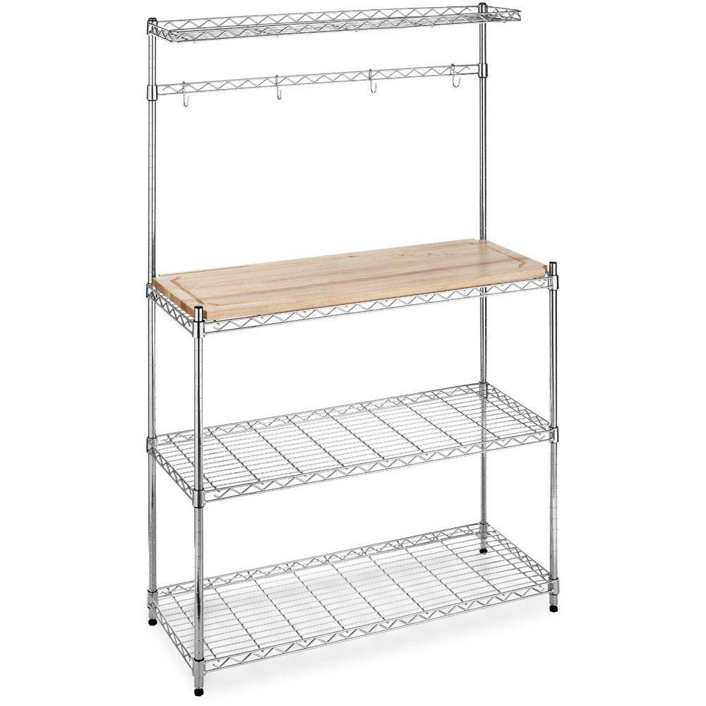 Chrome Wood Microwave Baker S Rack Kitchen Shelves Shelf Bakers