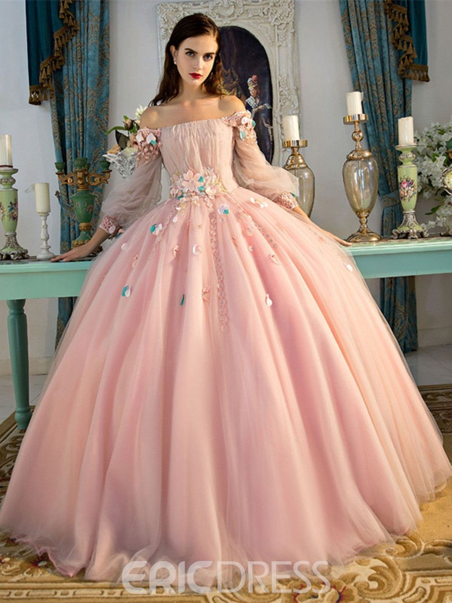 8fd22649e0 Ericdress Off-the-Shoulder Long Sleeves Ball Quinceanera Dress With Beadings